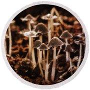 Mushroom Friends Round Beach Towel