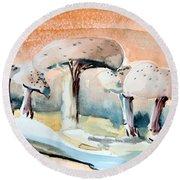 Mushroom Heaven Round Beach Towel by Mindy Newman
