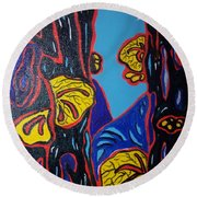 Mushroom On Trees Round Beach Towel