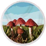 Mushrooms In Autumn Round Beach Towel