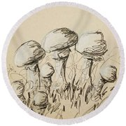 Mushrooms On Toned Paper With Charcoal Round Beach Towel