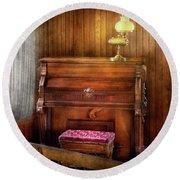 Music - Organist - A Vital Organ Round Beach Towel by Mike Savad