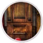 Music - Organist - What A Big Organ You Have  Round Beach Towel