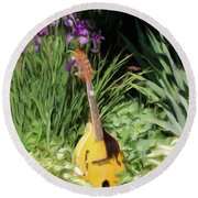 Music And Flowers Round Beach Towel
