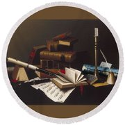 Music And Literature By William Michael Harnett Round Beach Towel