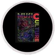 Music Culture Round Beach Towel