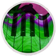 Music In Color Round Beach Towel