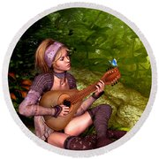 Music In The Woods Round Beach Towel