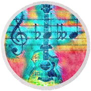 Music Is Everything In Colors Round Beach Towel
