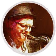 Music - Jazz Sax Player With A Hat Round Beach Towel