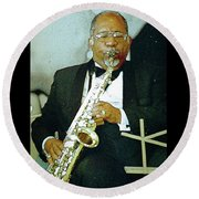 Music Man Saxophone 2 Round Beach Towel
