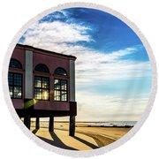 Music Pier Flare Round Beach Towel