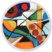 Musical Abstract Round Beach Towel
