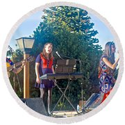 Musical Entertainers In Central Park In Bariloche-argentina Round Beach Towel
