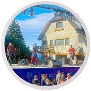 Musical Entertainment In Central Park In Bariloche-argentina Round Beach Towel
