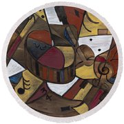 Musicality In Brown Round Beach Towel