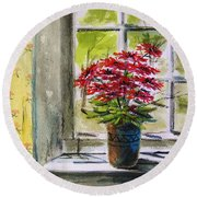 Musing-gerberas At The Window Round Beach Towel