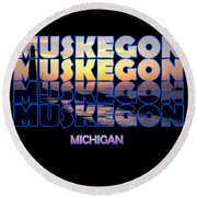 Muskegon Channel Sunset Round Beach Towel