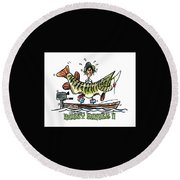 Musky Hunter - Cartoon Round Beach Towel by Peter McCoy