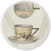 Mustache Cup And Saucer Round Beach Towel