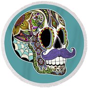 Mustache Sugar Skull Round Beach Towel by Tammy Wetzel