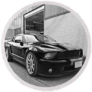 Mustang Alley In Black And White Round Beach Towel