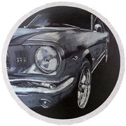 Mustang Front Round Beach Towel