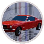 Mustang Poster Round Beach Towel