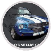 Mustang Shelby Gt-350, Blue And White Classic Car, Gift For Men Round Beach Towel