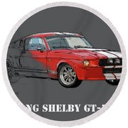 Mustang Shelby Gt500 Red, Handmade Drawing, Original Classic Car For Man Cave Decoration Round Beach Towel