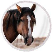 Mustang Stallion Round Beach Towel