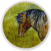 Mustang Stallion Round Beach Towel