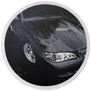 Mustang With Flames Round Beach Towel