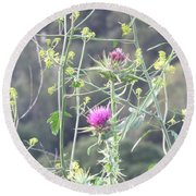 Mustard And Thistle Round Beach Towel