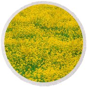Mustard Flowers Round Beach Towel