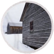 Musterfield Farm North Sutton Nh Old Buildings In The Snow Round Beach Towel
