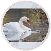 Mute Swan I Round Beach Towel