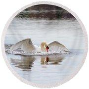 Mute Swan Swim Round Beach Towel