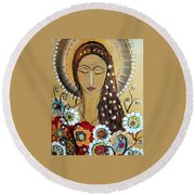 My Angel Modern Icon Round Beach Towel