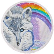 My Artic Fox Round Beach Towel