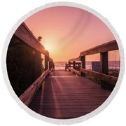 My Atlantic Dream -the Boardwalk  Round Beach Towel