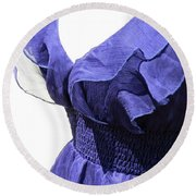 My Blue Dress Round Beach Towel