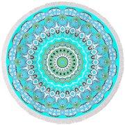 My Blue Heaven Mandala Round Beach Towel