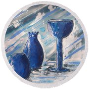 My Blue Vases Round Beach Towel