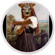 My Deer Shepherdess Round Beach Towel