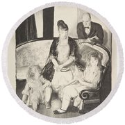 My Family, Second Stone George Bellows  Round Beach Towel