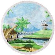 My First Landscape Watercolor Painting At The Age Of 18 Round Beach Towel