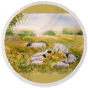My Flock Of Sheep Round Beach Towel