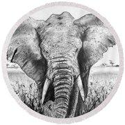 My Friend The Elephant II Round Beach Towel