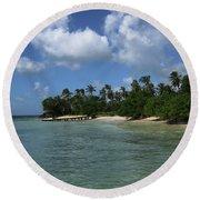 My Happy Place Round Beach Towel